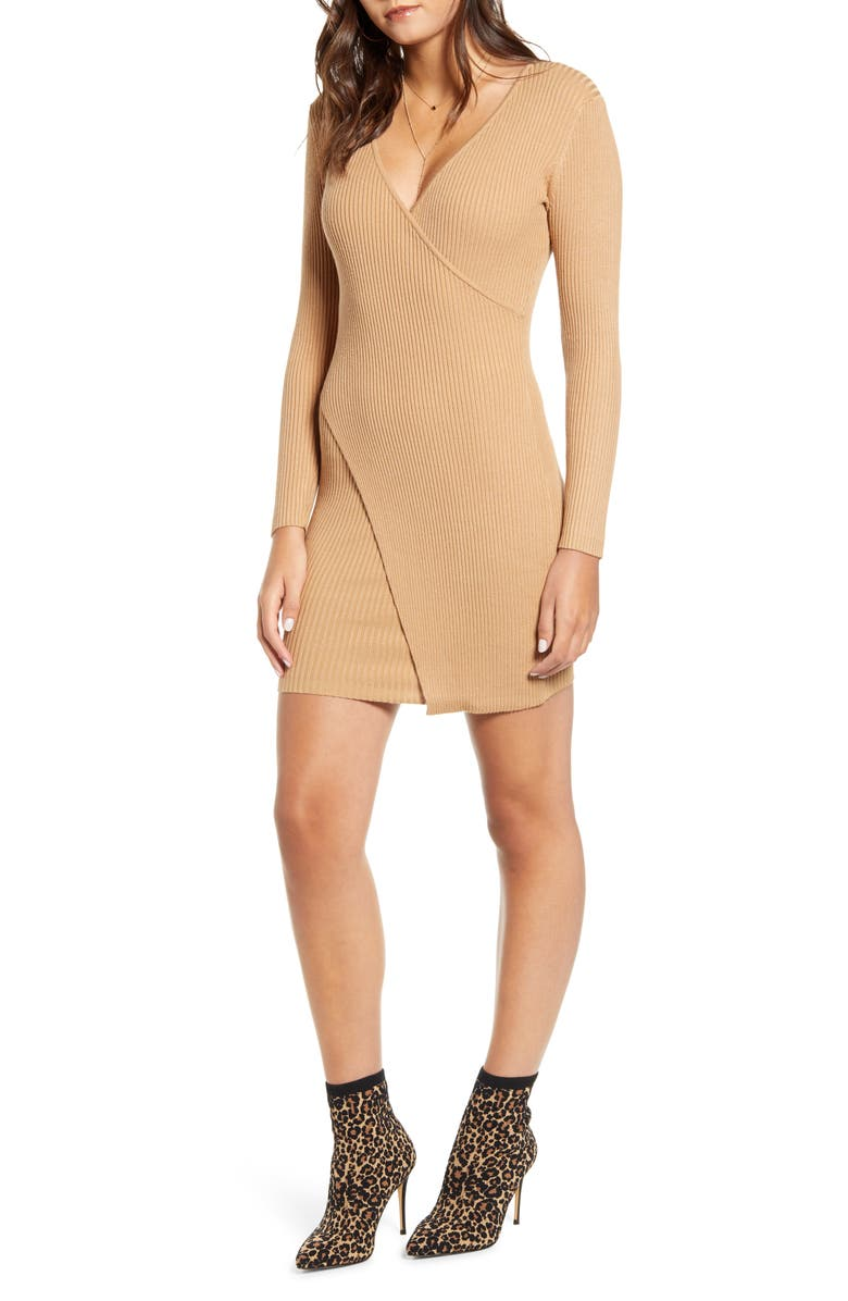 ROW A Long Sleeve Surplice Ribbed Mini Sweater Dress, Main, color, TAN