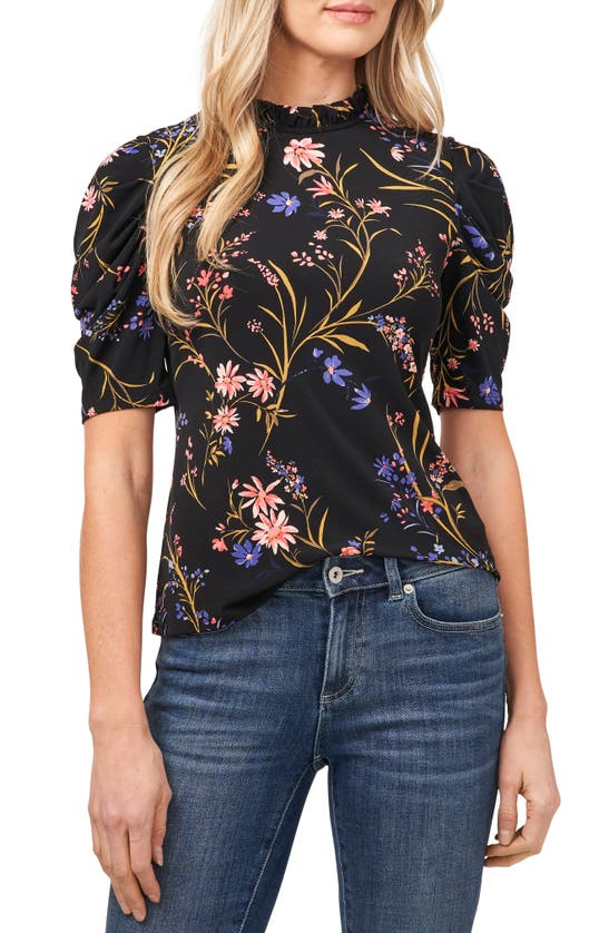 CECE Tops GARDEN FLORAL PUFF SLEEVE TOP