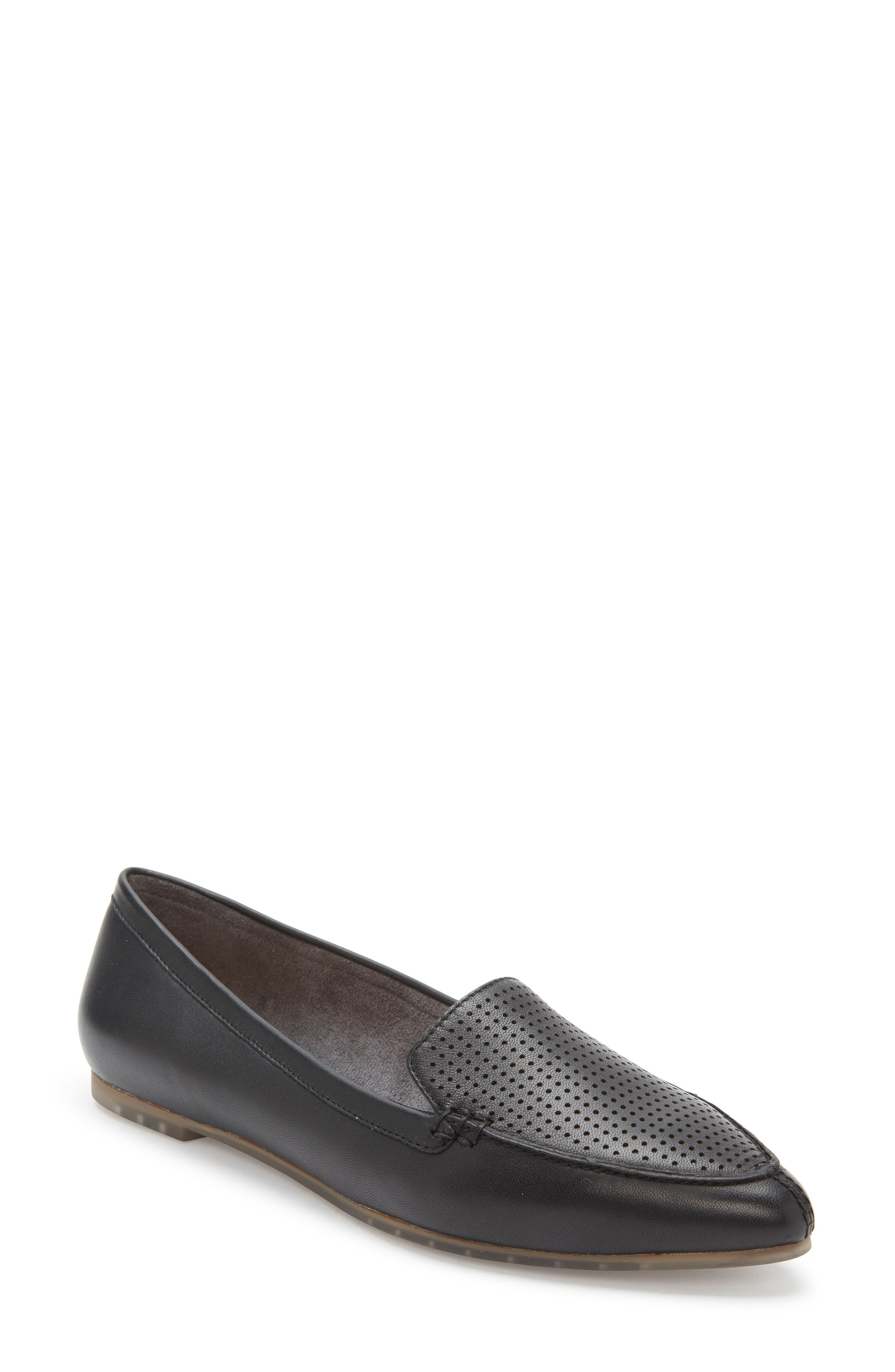 Me Too Alegra Perforated Pointy Toe Loafer- Black