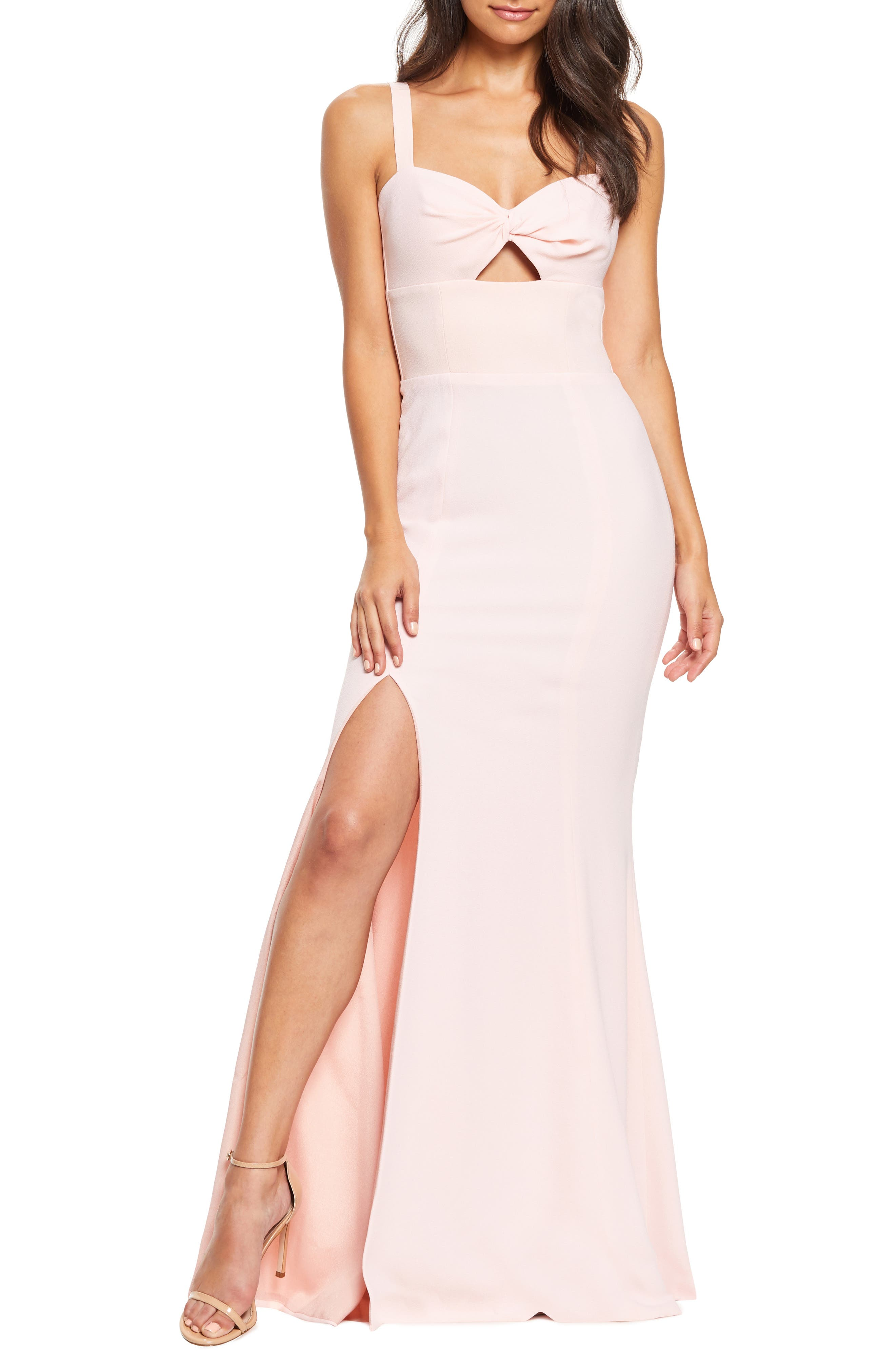 Dress The Population Brooke Twist Front Gown, Pink