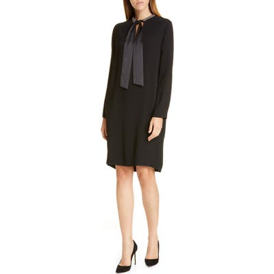 Fabiana Filippi Tie Neck Long Sleeve Shift Dress, US / 48 IT - Black