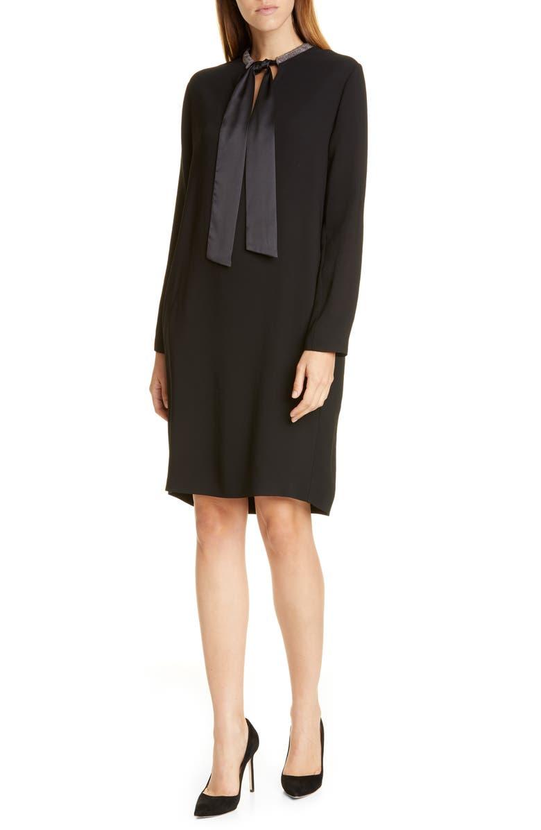 FABIANA FILIPPI Tie Neck Long Sleeve Shift Dress, Main, color, BLACK