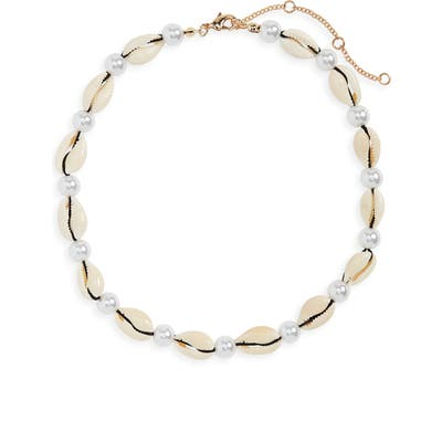 Bp. Shell & Imitation Pearl Collar Necklace
