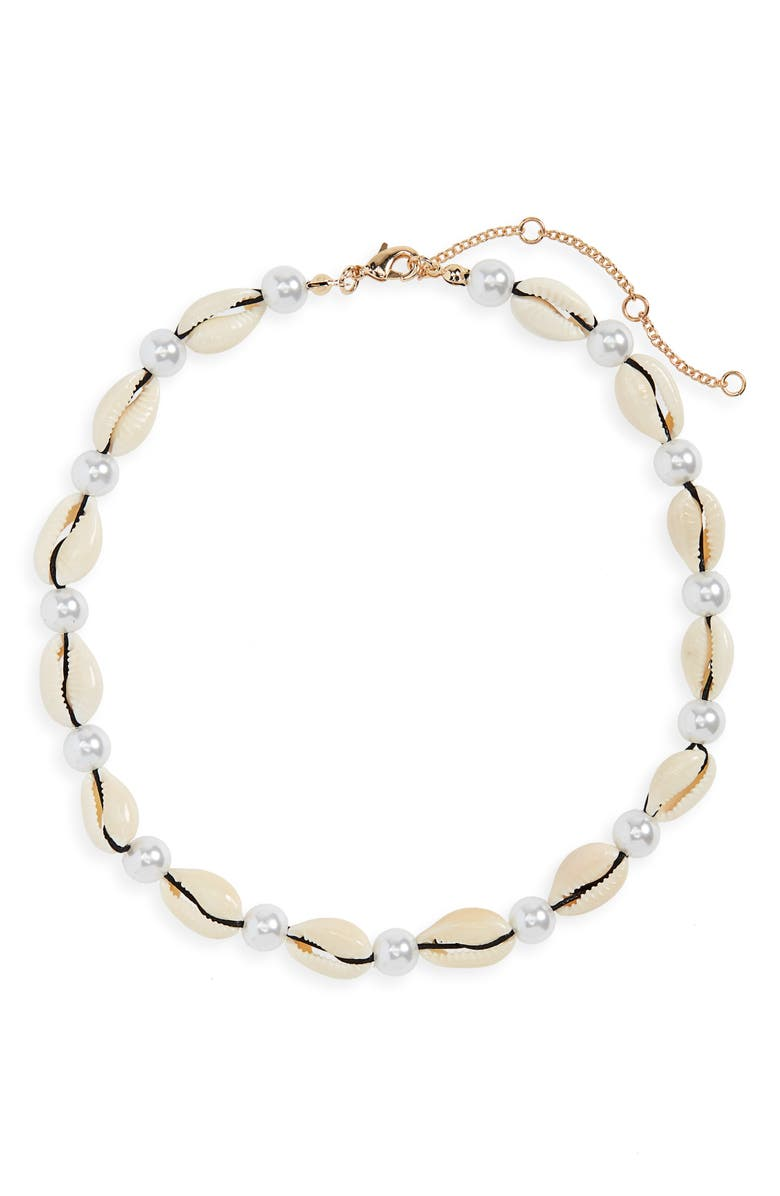 BP. Shell & Imitation Pearl Collar Necklace, Main, color, WHITE- BLACK