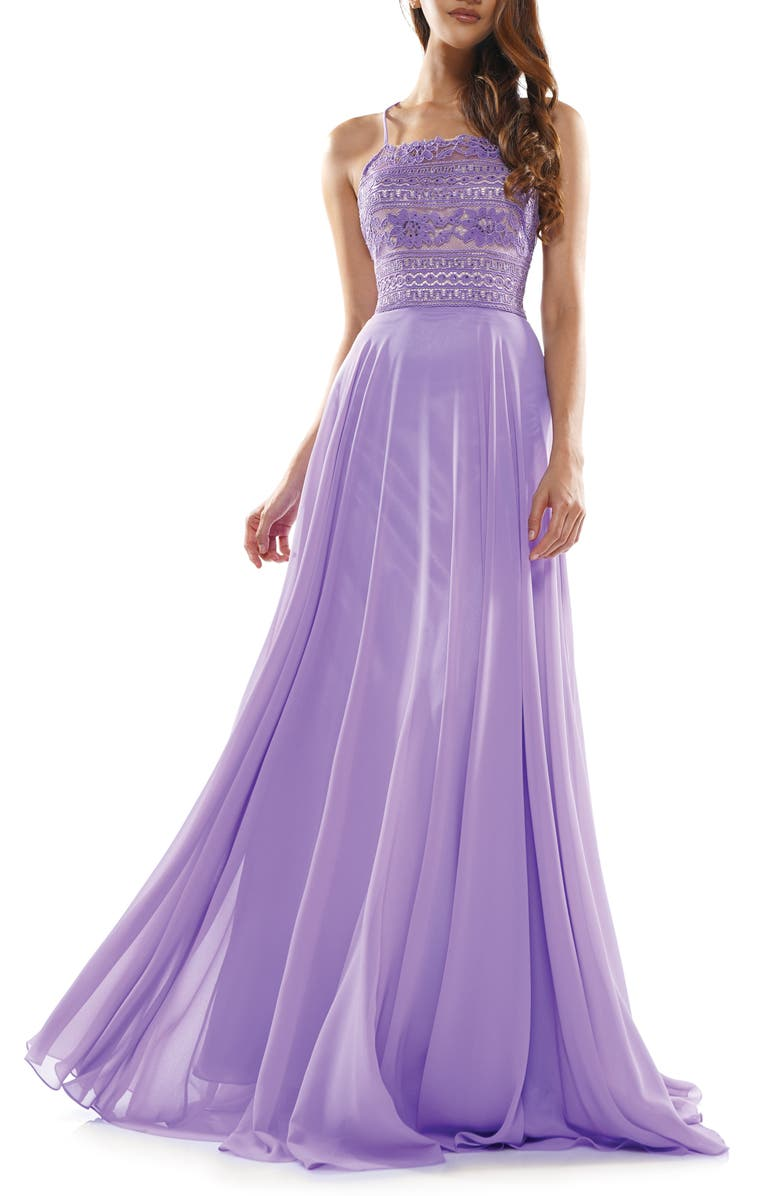 COLORS DRESS Lace Strappy Back Chiffon Gown, Main, color, LILAC