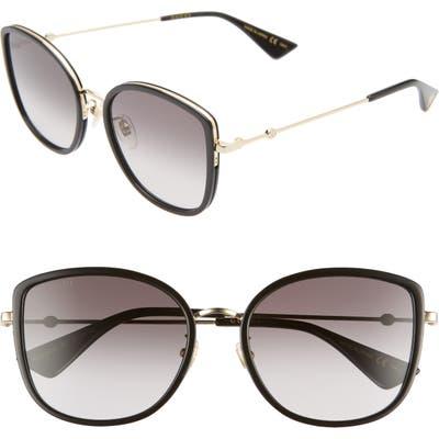 Gucci 5m Cat Eye Sunglasses - Black/ Grey Gradient