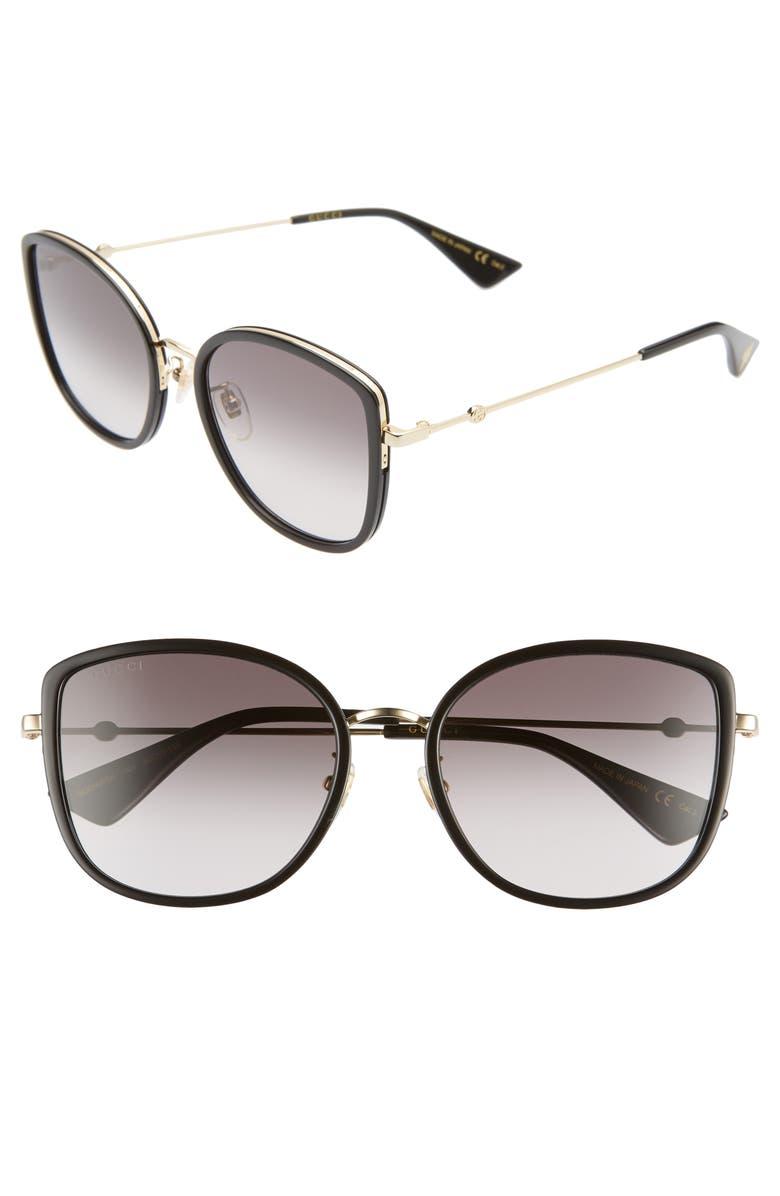 GUCCI 56mm Gradient Cat Eye Sunglasses, Main, color, 001