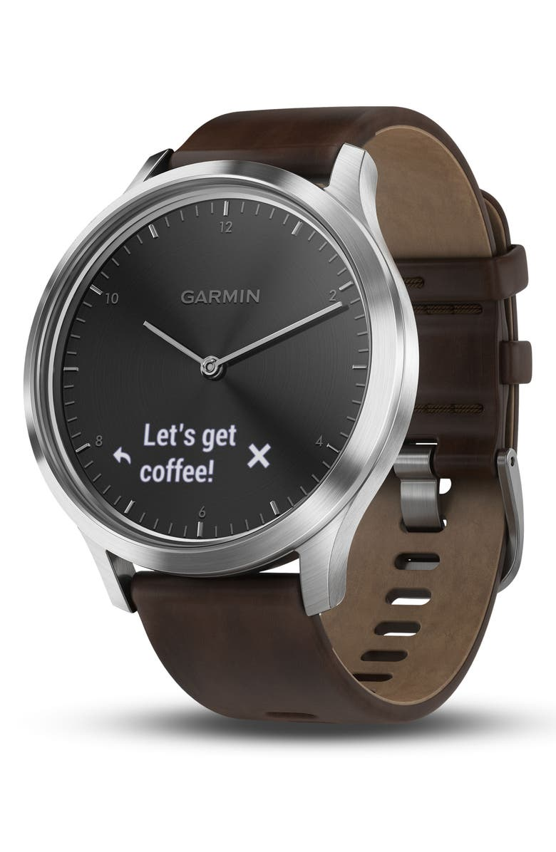 GARMIN Vivomove HR Hybrid Smart Watch, 43mm, Main, color, BROWN/ BLACK/ SILVER