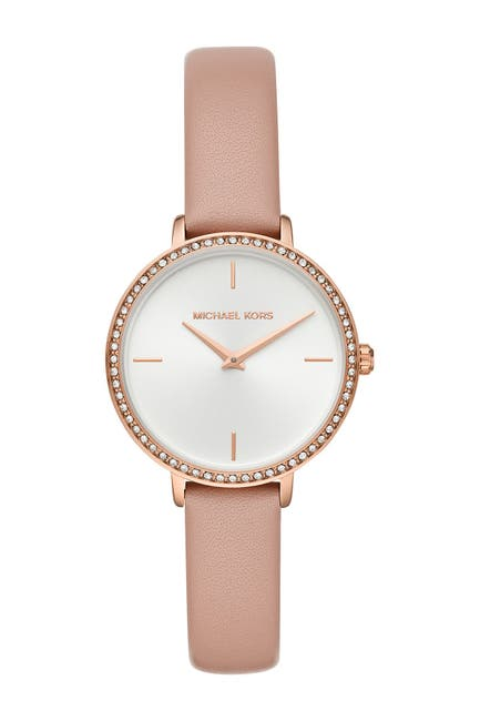 Image of Michael Kors Women's Mini Charley 3-Hand Leather Strap Watch, 32mm