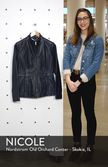 Cole Haan Lambskin Leather Jacket, sales video thumbnail