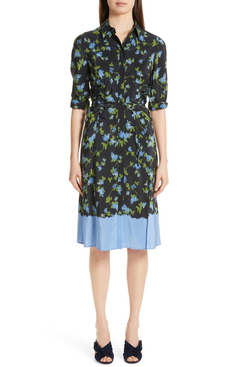 ALTUZARRA Floral Print Silk Dress, Main, color, 001