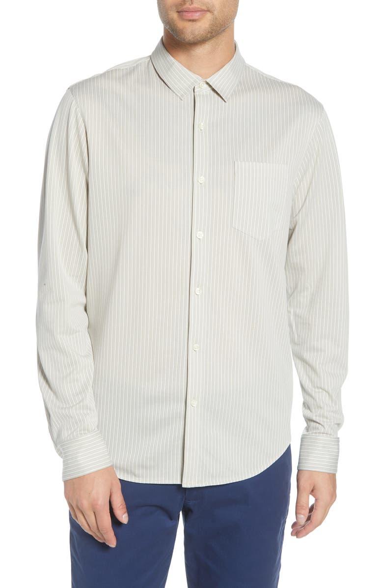 CLUB MONACO Regular Fit Stripe Cotton Blend Knit Sport Shirt, Main, color, TAN MULTI