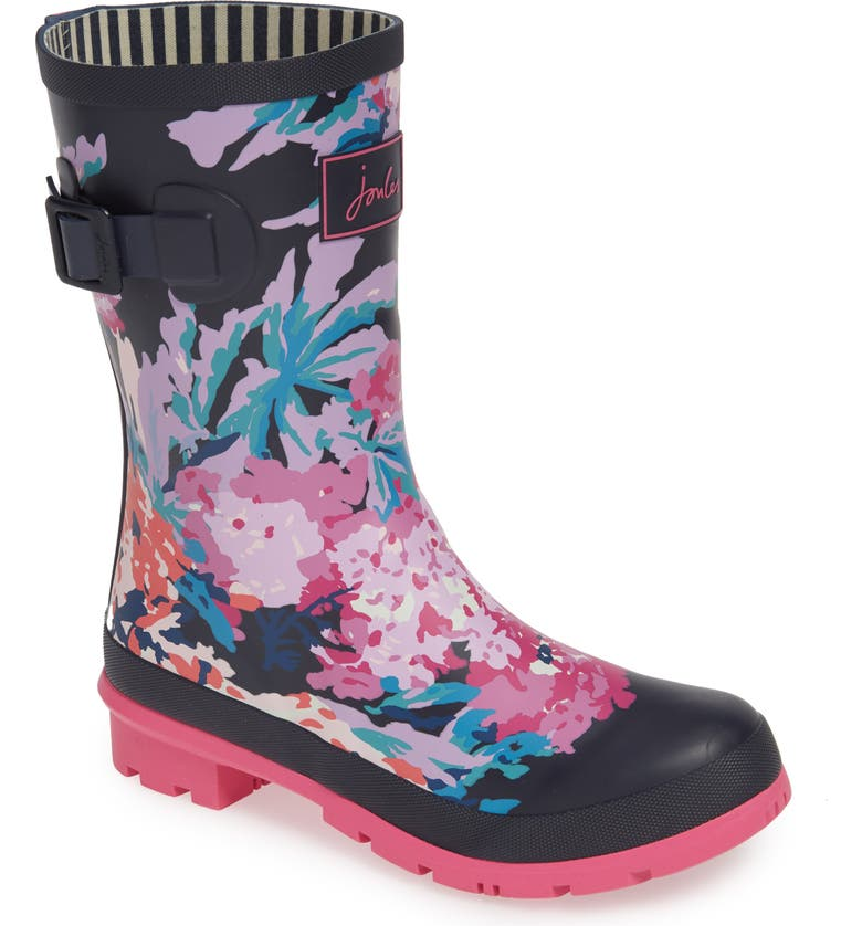 JOULES 'Molly' Rain Boot, Main, color, NAVY ALL OVER FLORAL