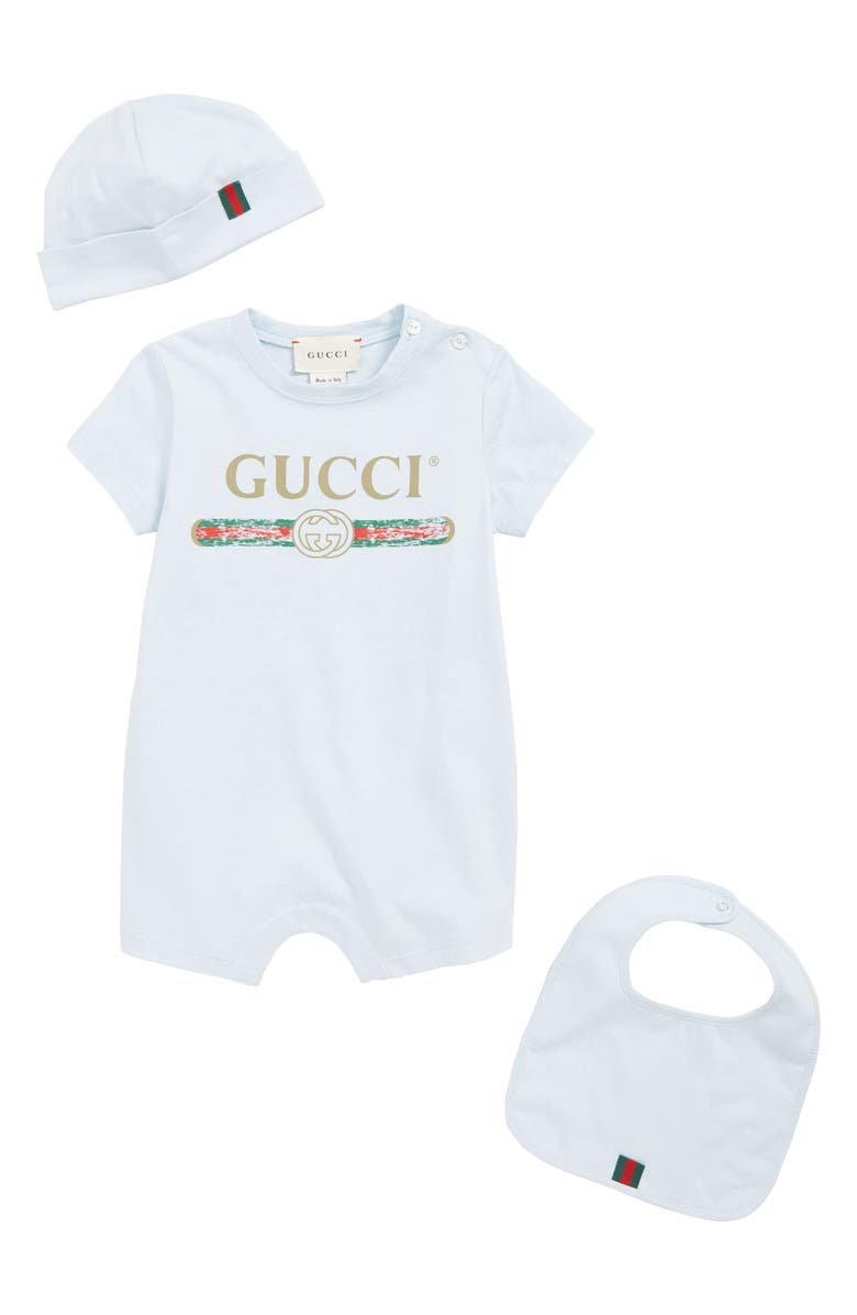 GUCCI Romper, Cap and Bib Set, Main, color, PALE BLUE/ GREEN/ RED