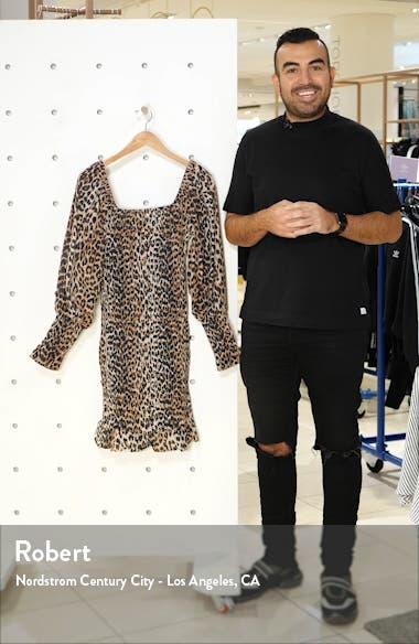 Leopard Print Long Sleeve Cotton & Silk Minidress, sales video thumbnail