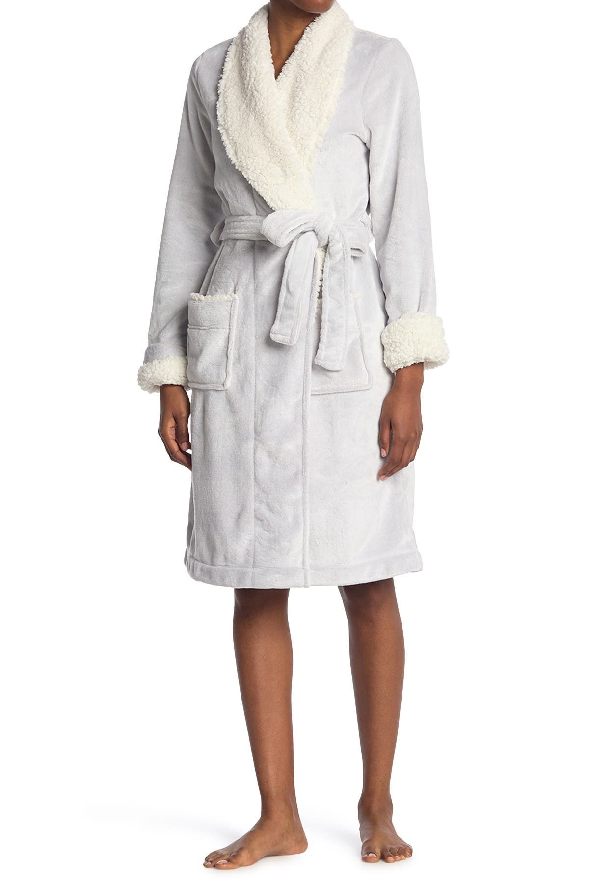 Image of shimera Faux Fur Lined Mid Length Robe