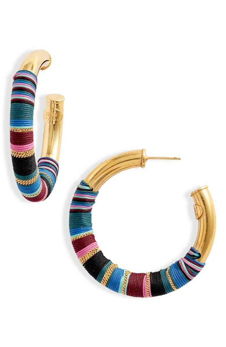 GAS BIJOUX Wrapped Hoop Earrings, Main, color, 400