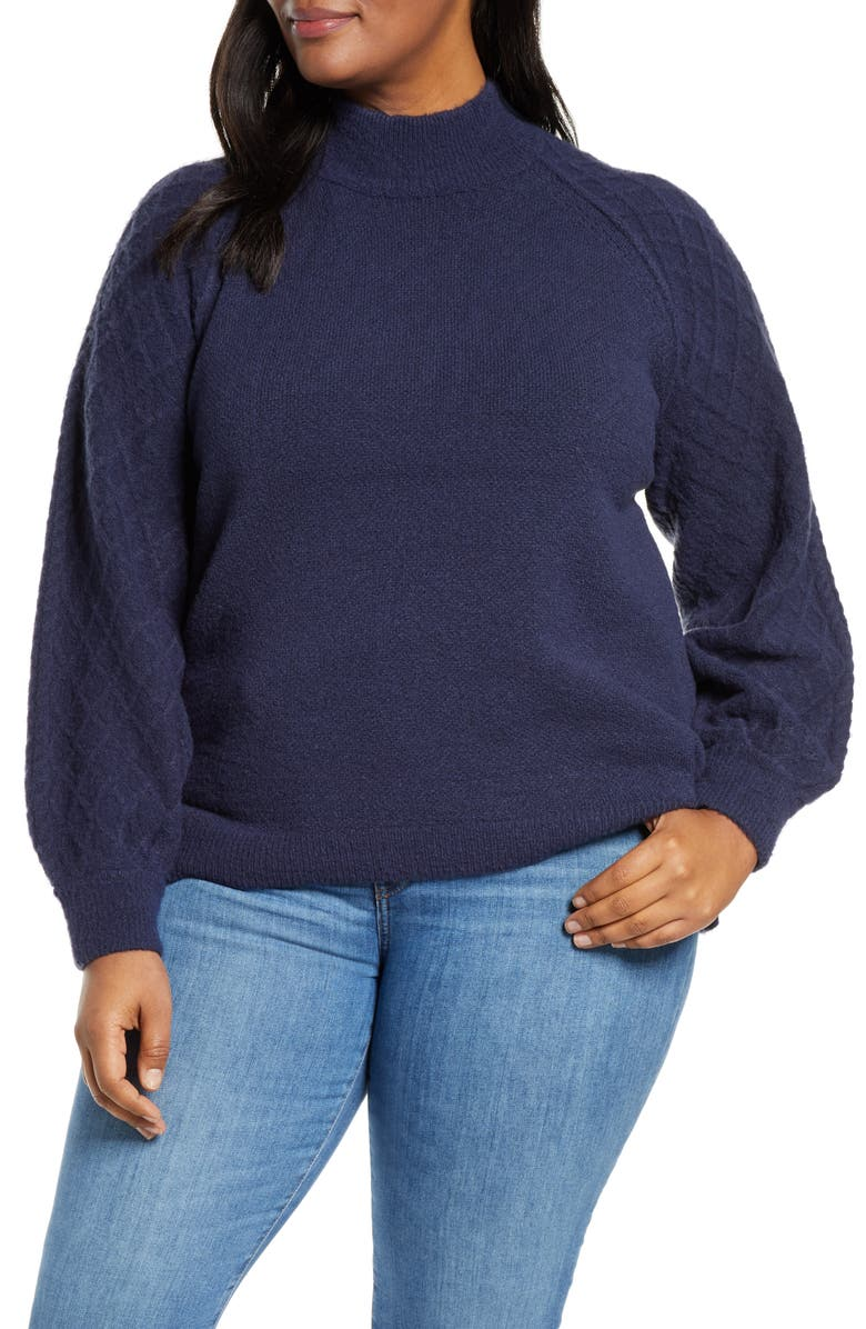 CASLON<SUP>®</SUP> Mix Stitch Turtleneck Sweater, Main, color, NAVY PEACOAT
