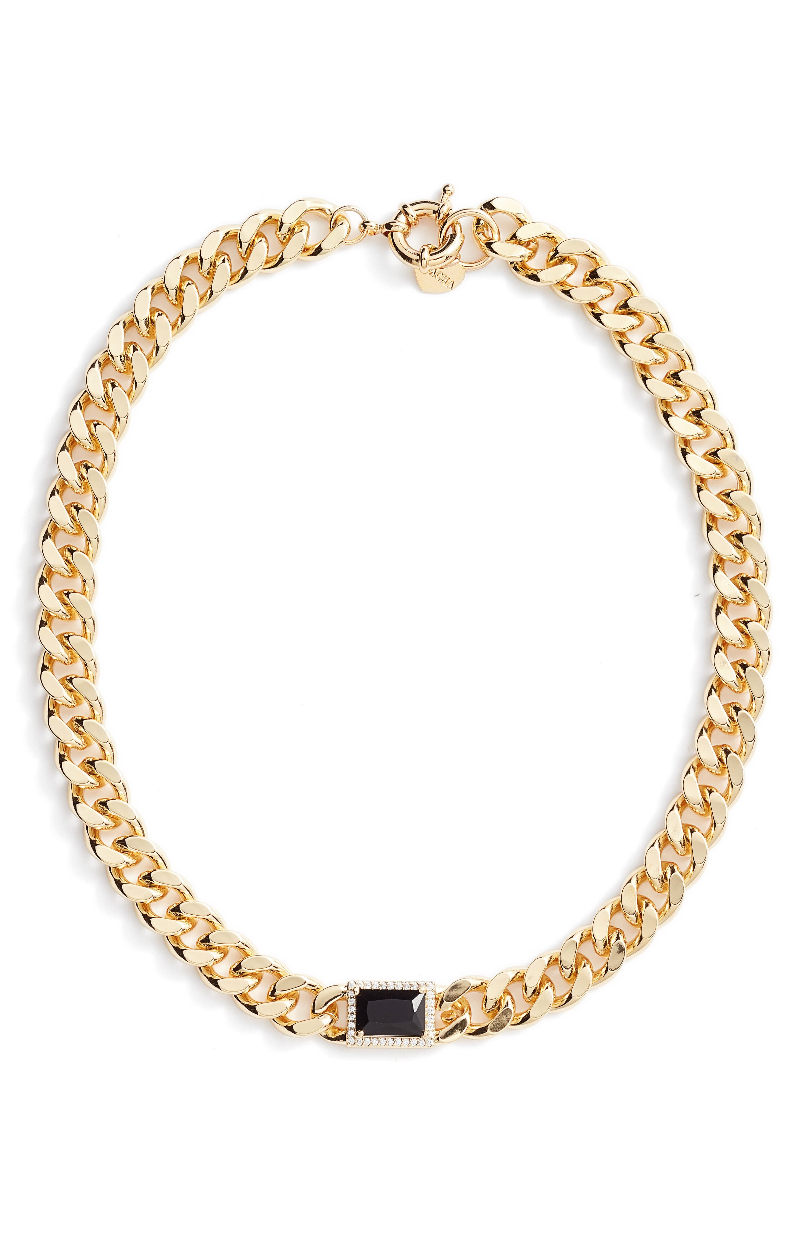 Jolene Onyx & Curb Chain Necklace