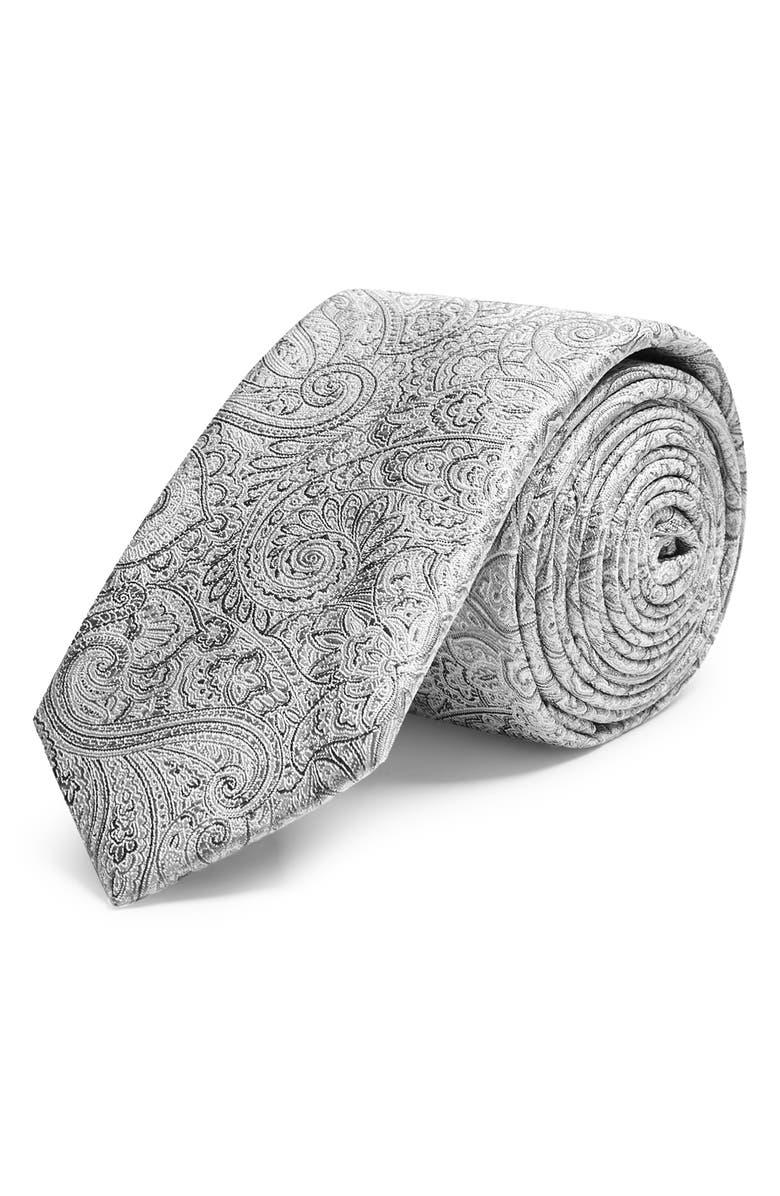 TOPMAN Paisley Silk Tie & Pocket Square Set, Main, color, 020