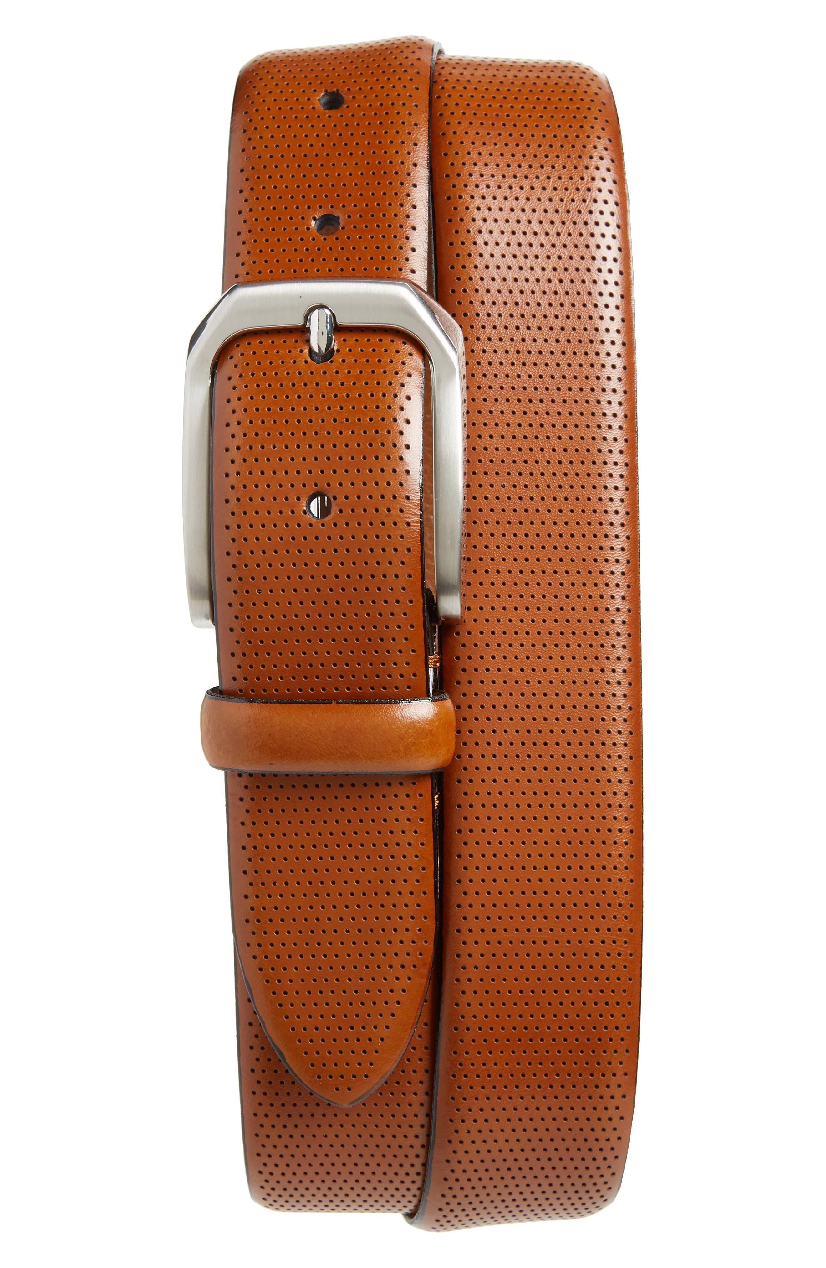 Johnston & Murphy Calfskin Belt, Tan
