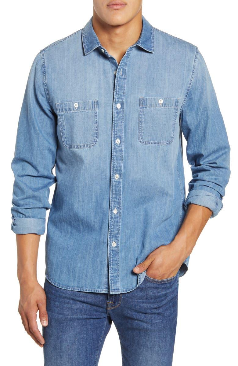 FRAME Classic Fit Chambray Shirt, Main, color, INDIGO