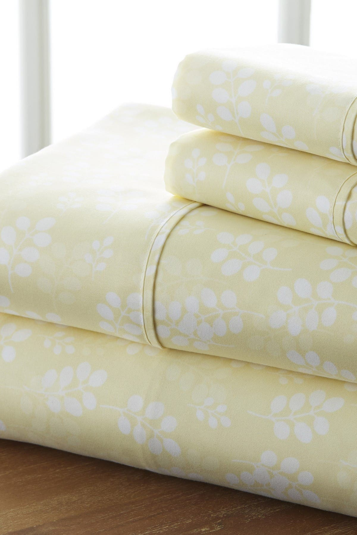 Image of IENJOY HOME Home Spun Premium Ultra Soft Wheat Pattern 4-Piece Full Bed Sheet Set - Ivory