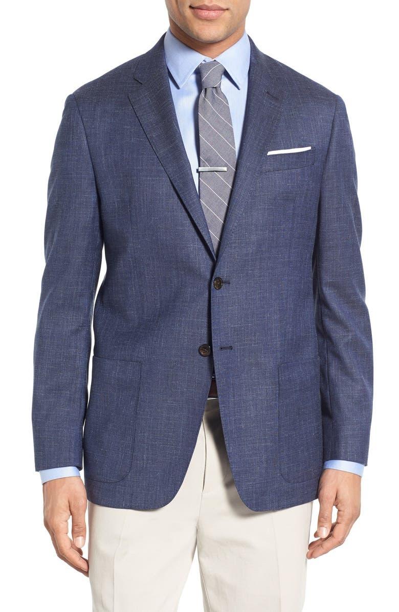 TODD SNYDER WHITE LABEL Trim Fit Wool Blend Blazer, Main, color, 420