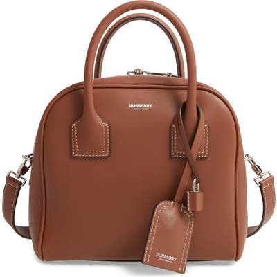 Burberry Small Cube Leather Satchel - Brown