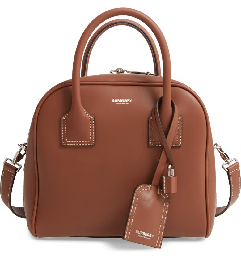 BURBERRY Small Cube Leather Satchel, Main, color, MALT BROWN