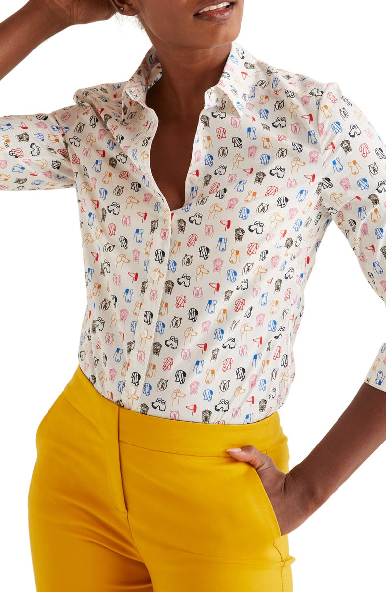 BODEN Modern Classic Print Shirt, Main, color, IVORY/ RUFUS SMALL