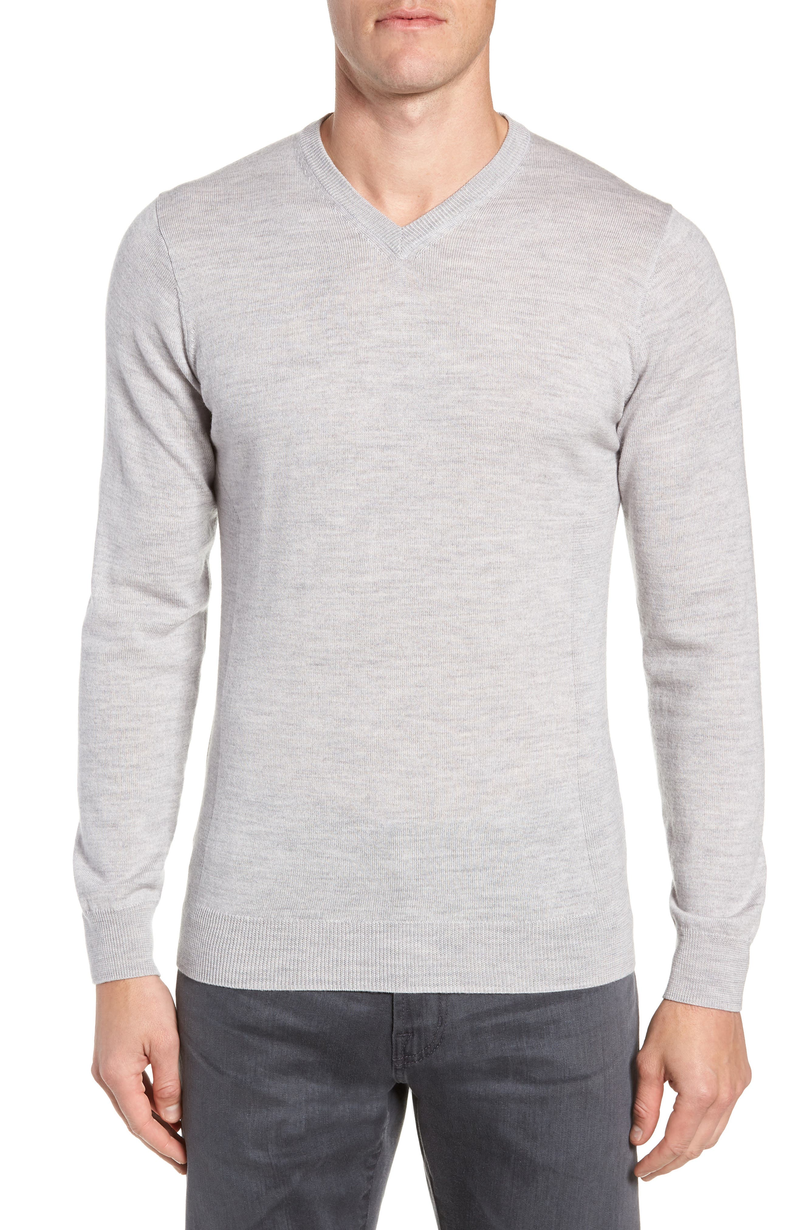 Icebreaker Shearer V-Neck Merino Sweater, Grey