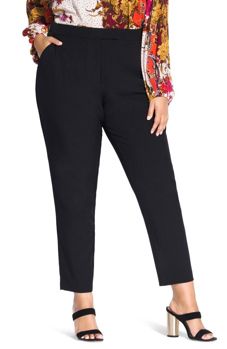 CITY CHIC Mrs. Draper Ankle Pants, Main, color, BLACK
