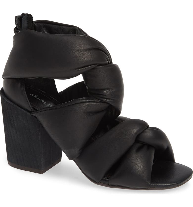 KELSI DAGGER BROOKLYN Maddox Knotted Strap Sandal, Main, color, BLACK