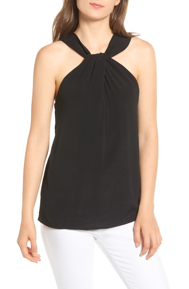 CHELSEA28 Twist Front Sleeveless Top, Main, color, BLACK