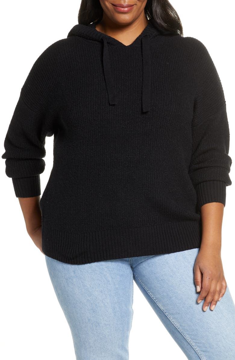 CASLON<SUP>®</SUP> Sweater Hoodie, Main, color, BLACK