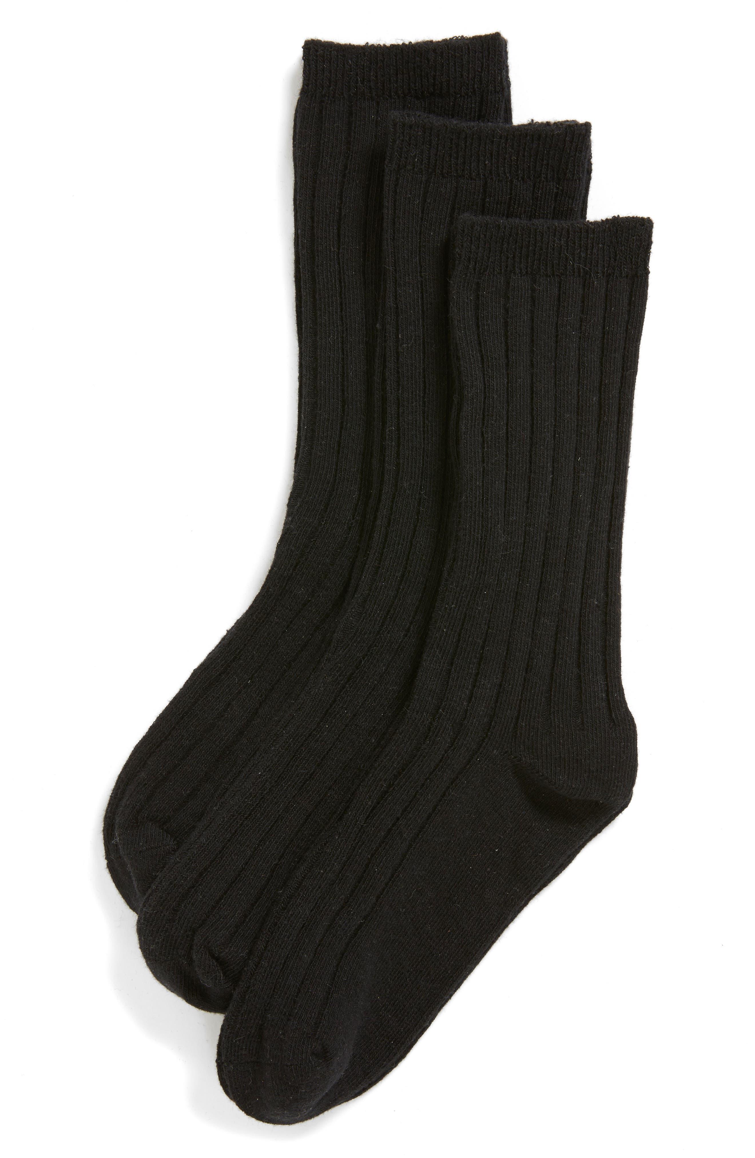 3-Pack Dress Socks, Main, color, BLACK