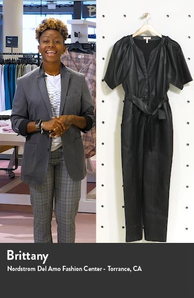 Tie Waist Faux Leather Jumpsuit, sales video thumbnail