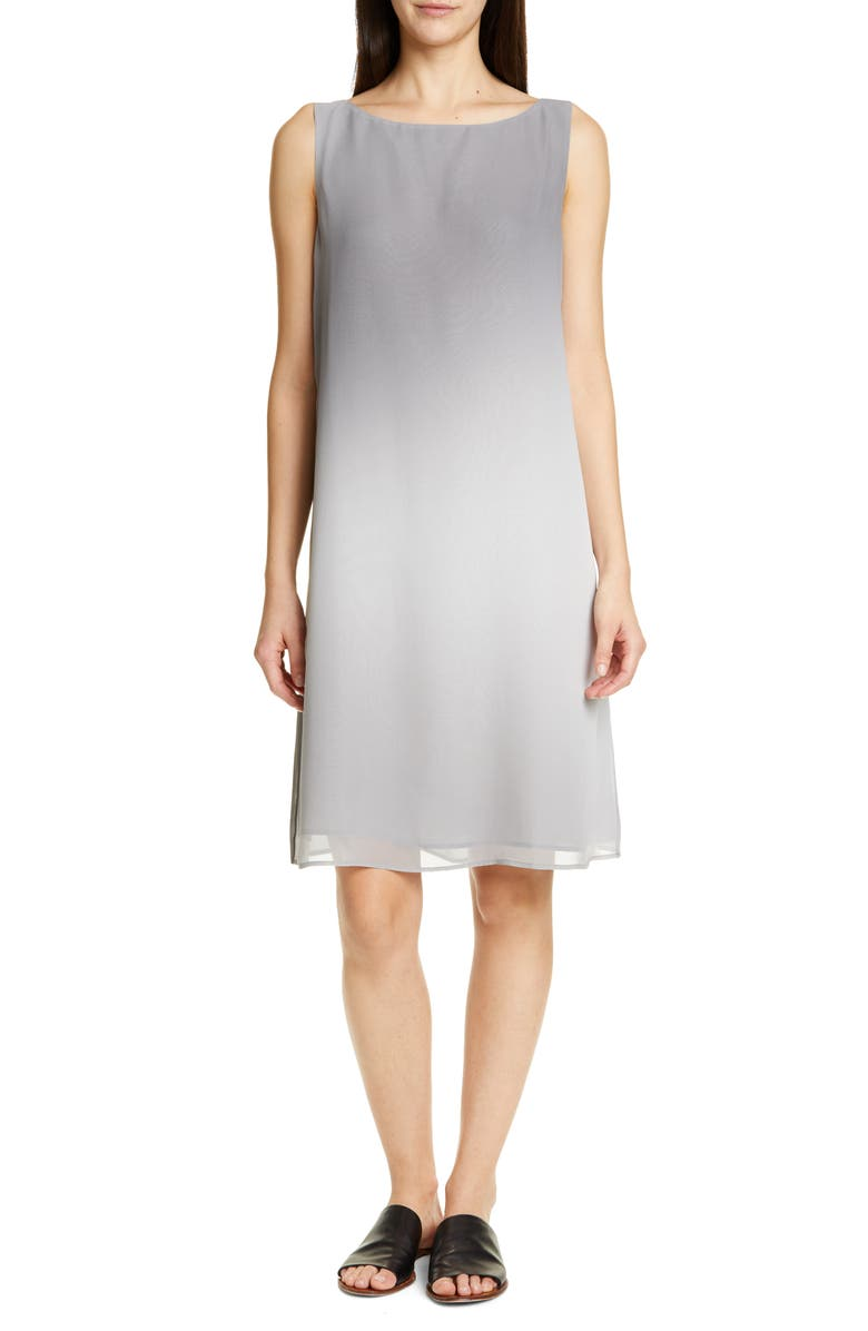 EILEEN FISHER Bateau Neck Silk Dress, Main, color, 117