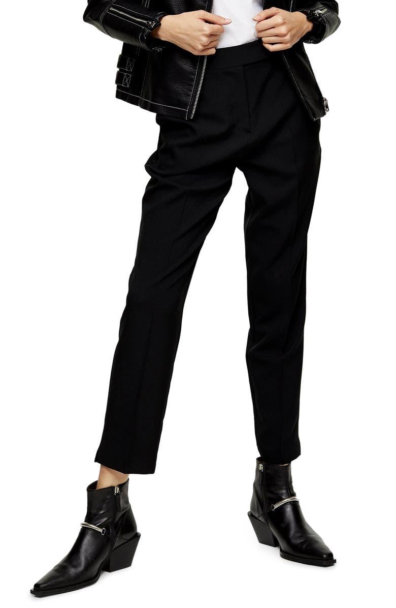 TOPSHOP Markie Cigarette Trousers, Main, color, BLACK