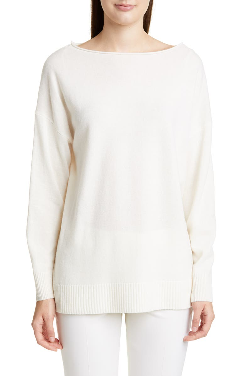 LAFAYETTE 148 NEW YORK Boat Neck Merino Wool & Cashmere Sweater, Main, color, CLOUD