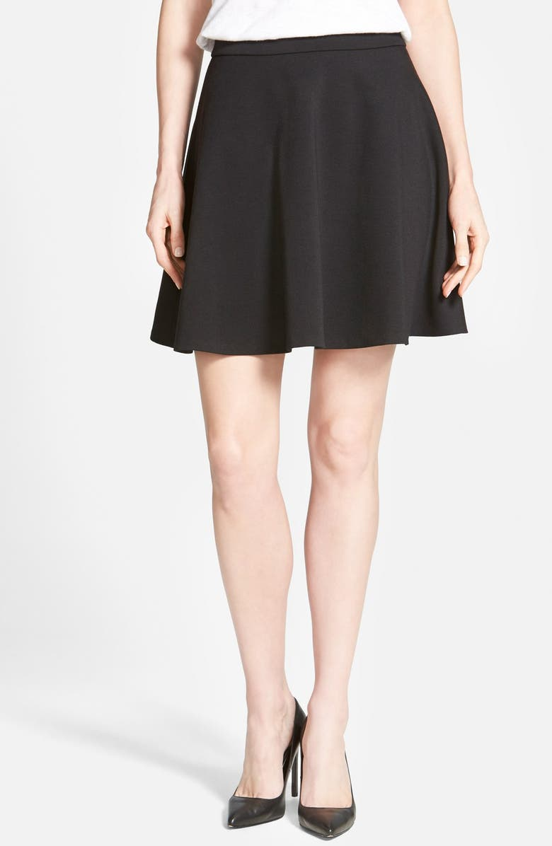 HALOGEN<SUP>®</SUP> Back Zip Flared Ponte Skirt, Main, color, 001