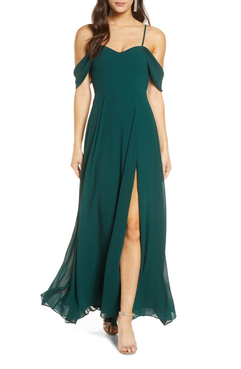 SEQUIN HEARTS Cold Shoulder Tie Back Crepe Gown, Main, color, HUNTER