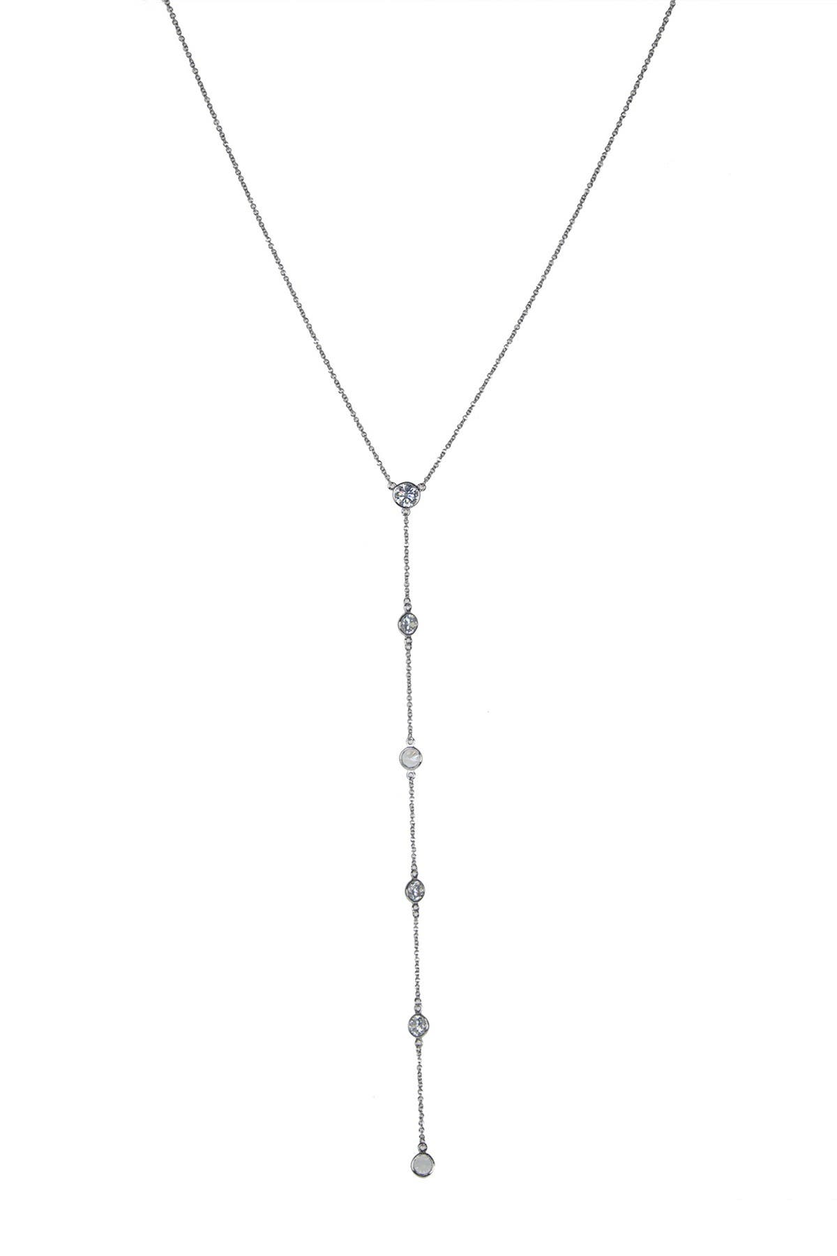 Image of CZ By Kenneth Jay Lane Rhodium Plated Bezel Set CZ Station Y-Drop Necklace