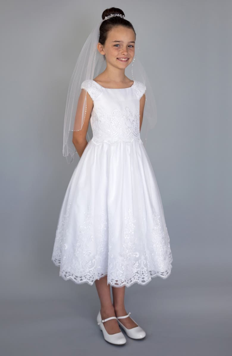 US ANGELS Embroidered Cap Sleeve Dress, Main, color, WHITE