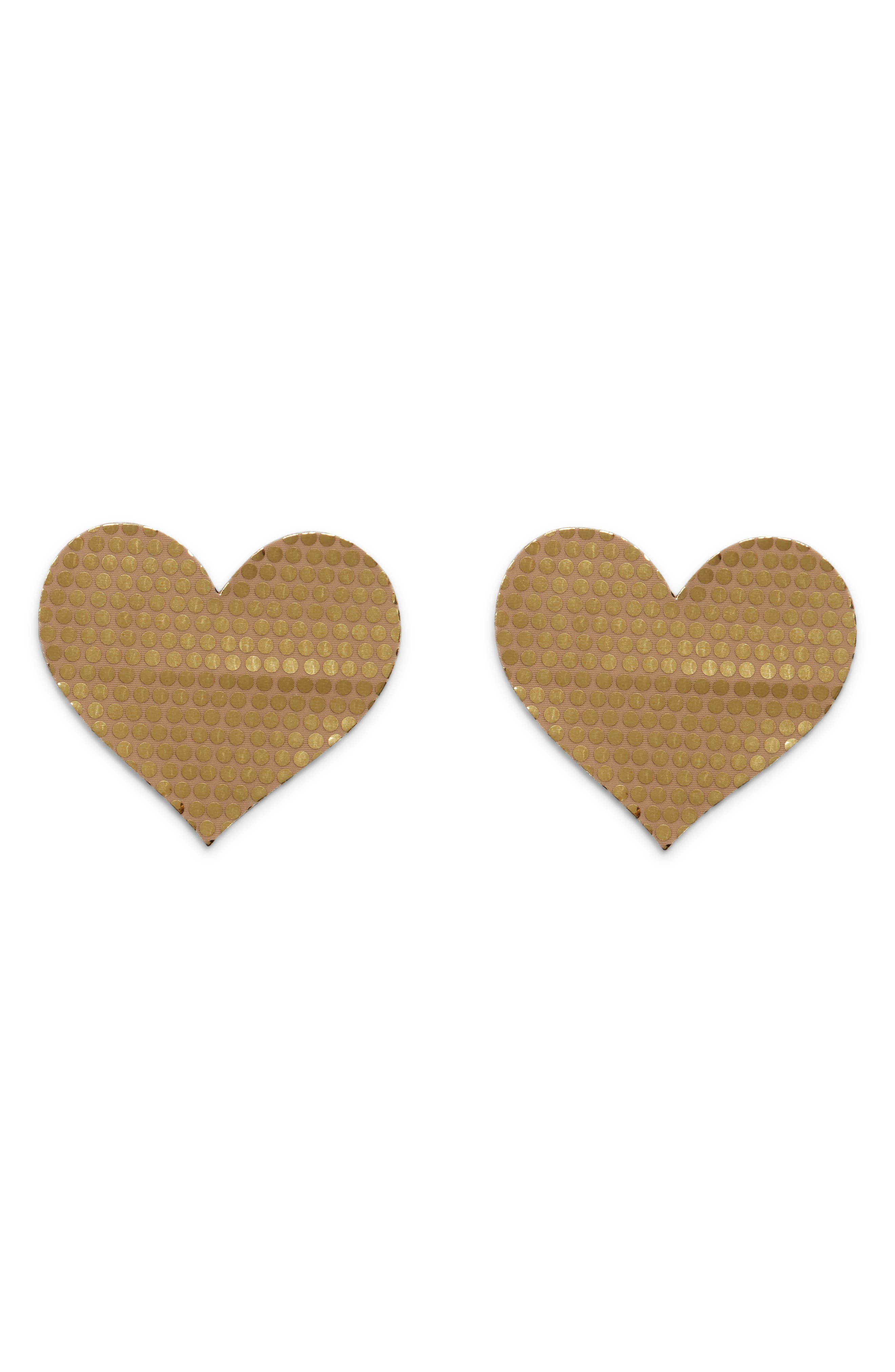 Nippies by Bristols Metallic Dot Heart Nipple Covers