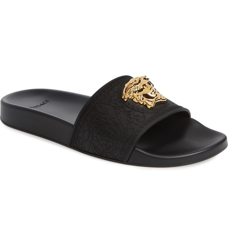 VERSACE Palazzo Medusa Slide Sandal, Main, color, BLACK/ WARM GOLD