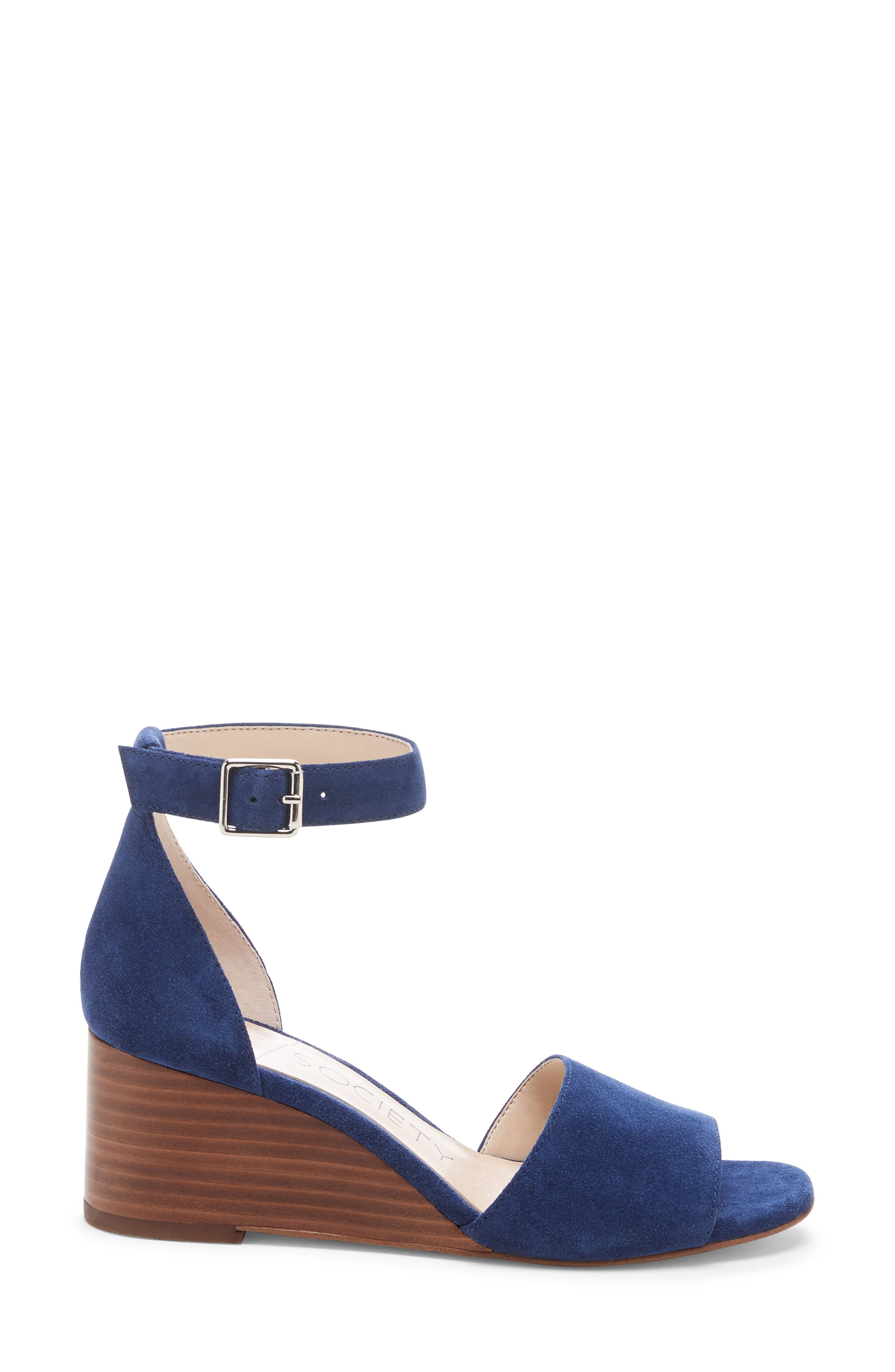 ,                             Kenia Wedge Sandal,                             Alternate thumbnail 3, color,                             BLUE JEAN SUEDE