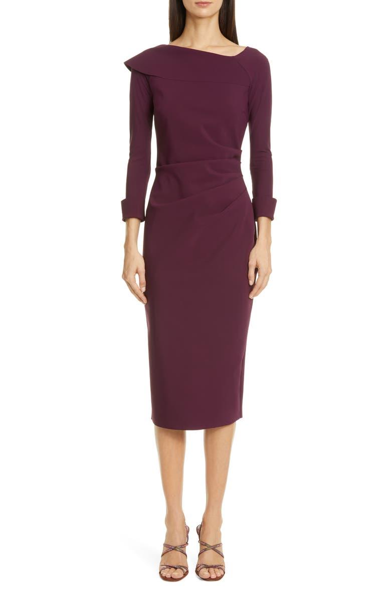 CHIARA BONI LA PETITE ROBE Tessana Asymmetrical Collar Sheath Dress, Main, color, BAROLO