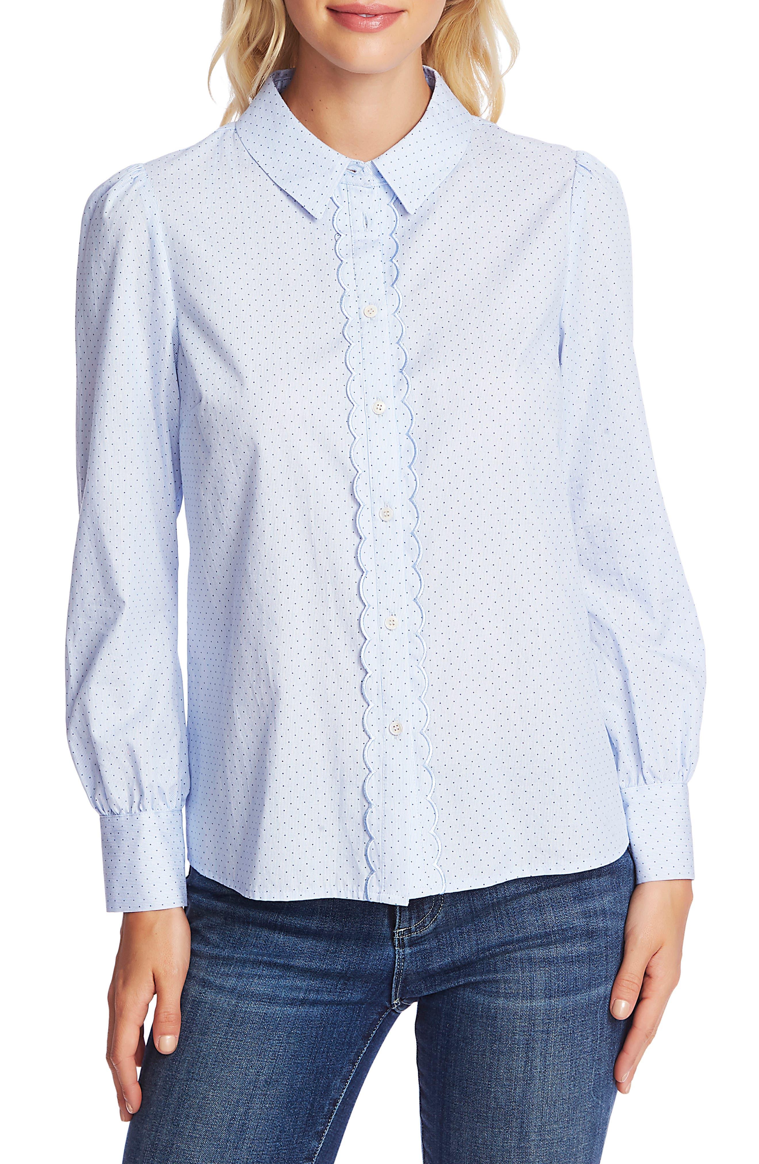 Vintage Tops & Retro Shirts, Halter Tops, Blouses Womens Cece Pin Dot Scallop Placket Cotton Blouse $34.97 AT vintagedancer.com